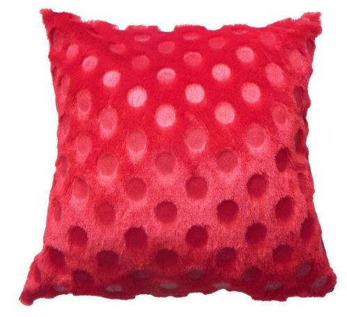 SOFT FEEL PLUSH STYLISH FAUX FUR DESIGNER CUSHION RED COLOUR